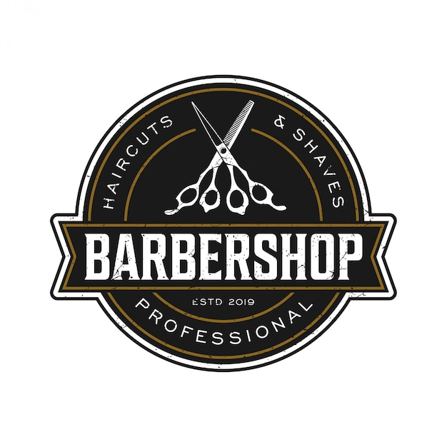 Le logo pour barbier au style vintage Vecteur Premium