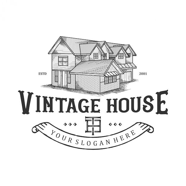 Logo pour maisons anciennes, maisons traditionnelles, immobilier Vecteur Premium