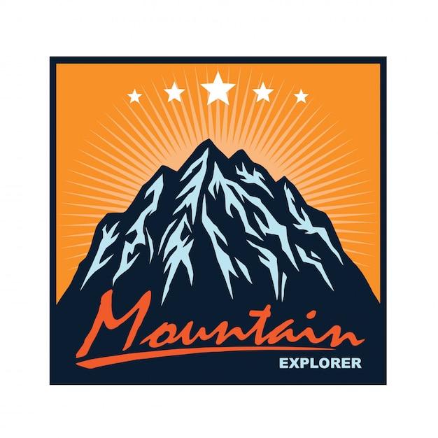 Logo pour le modèle d'escalade de camping aventure en montagne Vecteur Premium