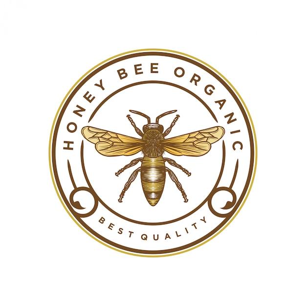 Logo pour les produits du miel ou les fermes apicoles Vecteur Premium