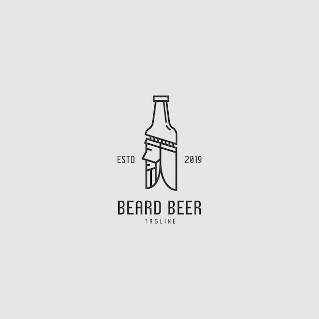 Logo premium avec bouteille et personnages Vecteur Premium