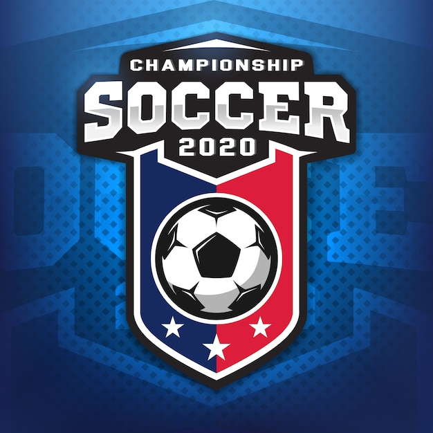 Logo Professionnel De Football Dans Un Style Plat, Ballon De Football Et Bouclier Avec Des étoiles. Jeux De Sport. Vecteur Premium
