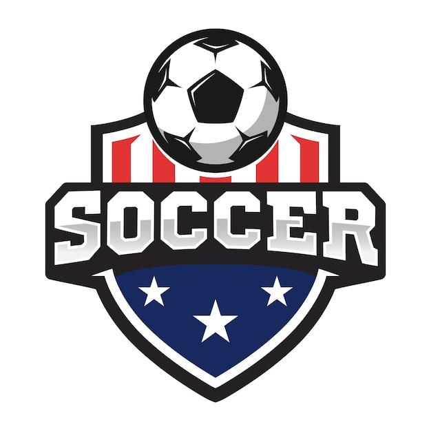 Logo Professionnel De Football Dans Un Style Plat, Ballon De Football Et Bouclier Avec Des étoiles. Vecteur Premium