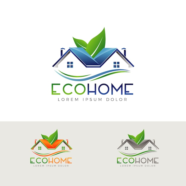 Logo de propriété écologique Vecteur Premium
