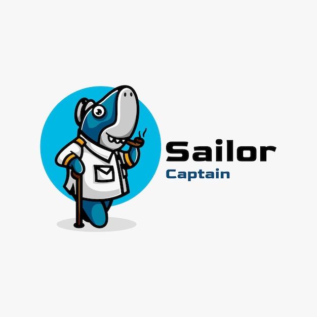 Logo De Requin Marin De Style Mascotte Simple. Vecteur Premium