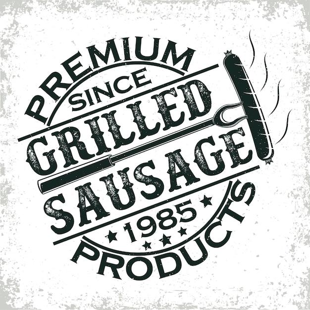 Logo De Restaurant Barbecue Vintage, Timbre Imprimé Grange, Emblème De Typographie De Bar Grill Créatif, Vecteur Premium