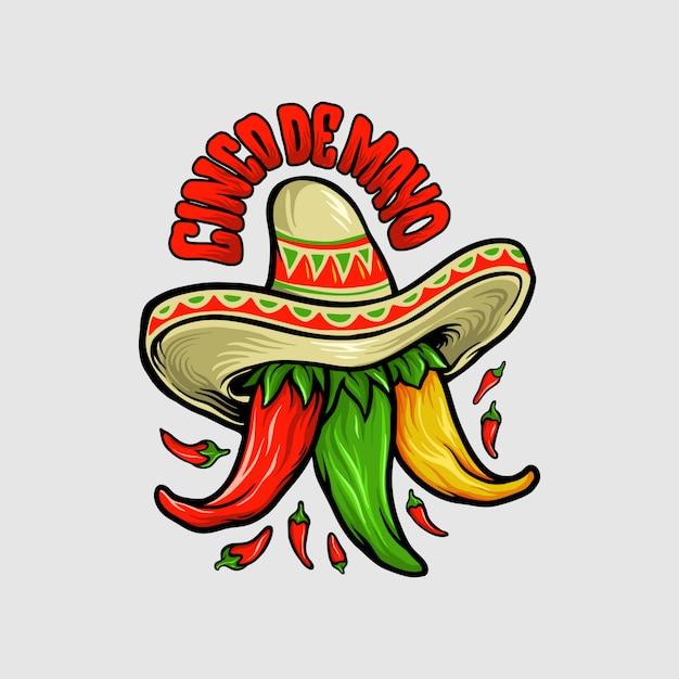 Logo Restaurant Cinco De Mayo Mascotte De Chili Mexicain Vecteur Premium