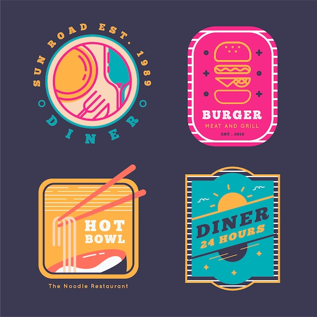 Logo De Restaurant Design Rétro Vecteur gratuit