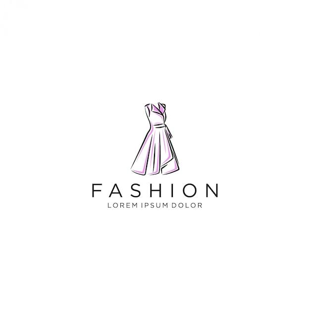 Logo de robe, robe de robe de luxe Vecteur Premium