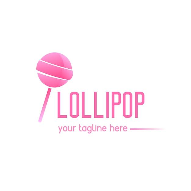 Logo rose avec une sucette Vecteur gratuit