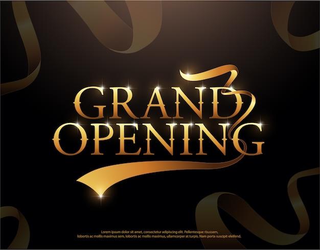 Logo de rubans d'or grand ouverture. grand ouverture élégant style Vecteur Premium