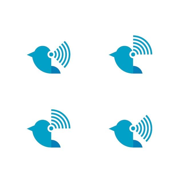 Logo sans fil flying bird Vecteur Premium