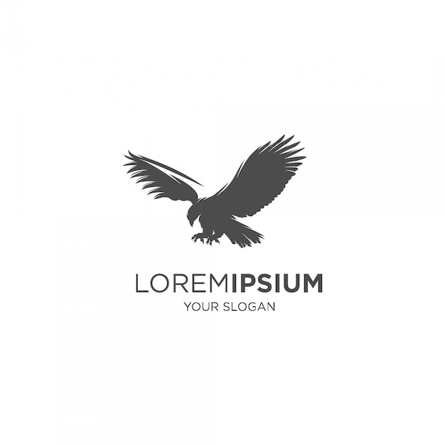 Logo Silhouette Faucon écorché Vecteur Premium