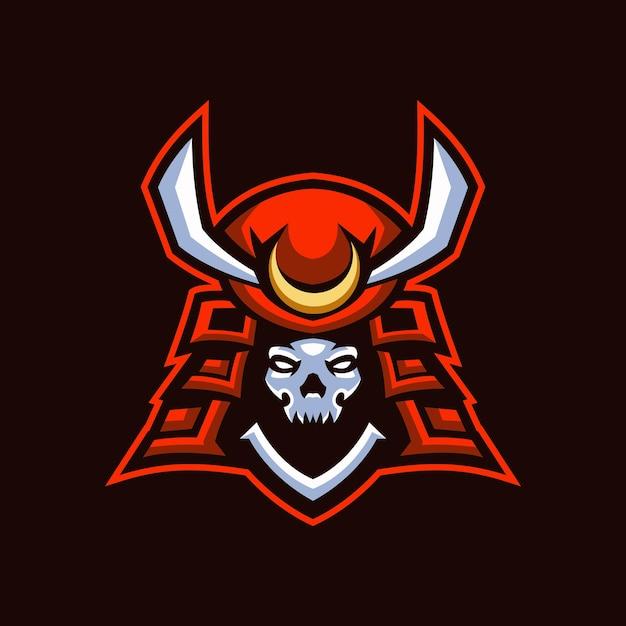 Logo Skull Samurai Esports Vecteur Premium
