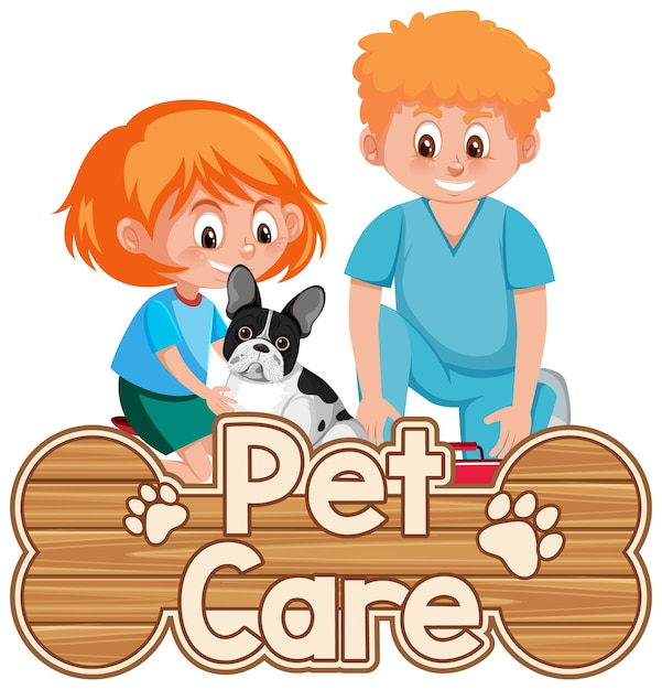 Logo De Soins Pour Animaux De Compagnie Ou Bannière Avec Médecin Vétérinaire Et Chien Vecteur Premium