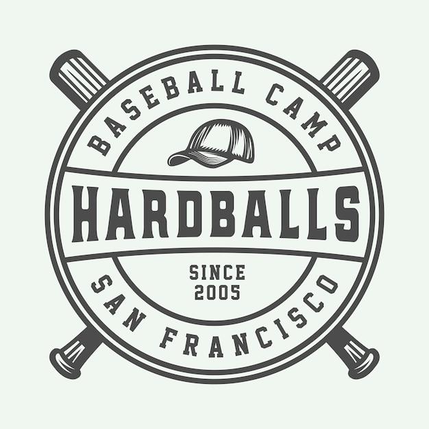 Logo de sport de baseball vintage Vecteur Premium