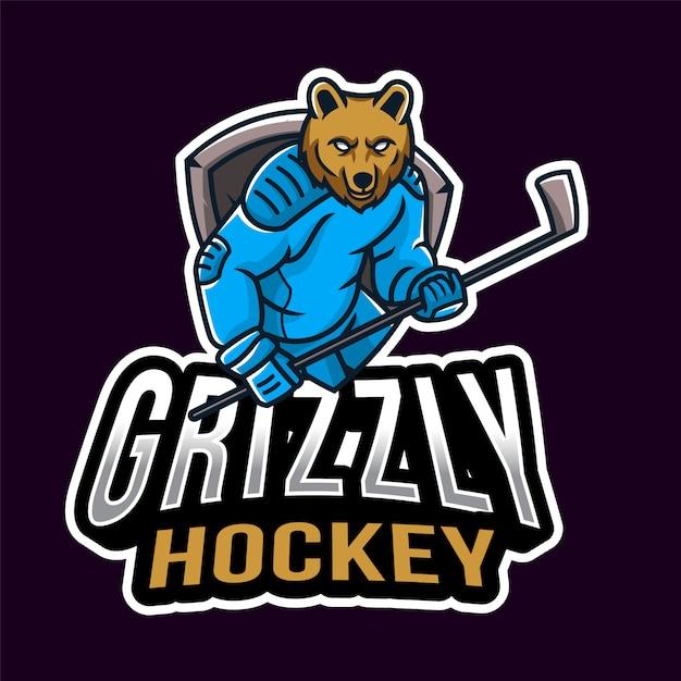 Logo Sport Grizzly Hockey Vecteur Premium