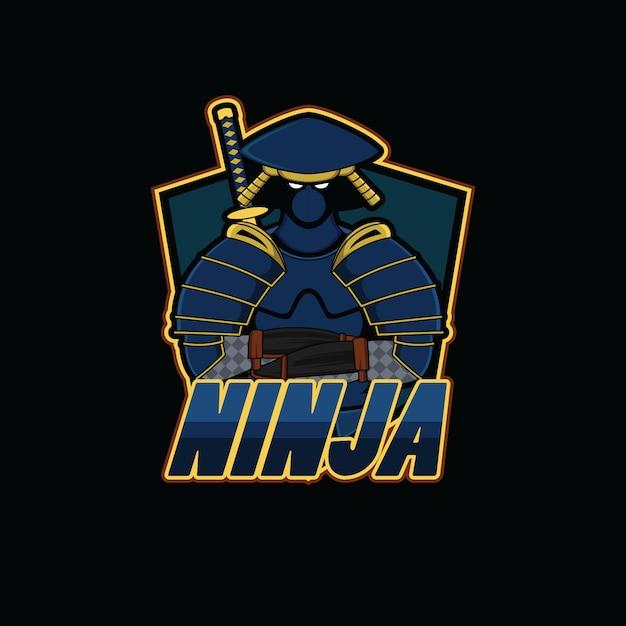 Logo de sport ninja avec fond noir Vecteur Premium