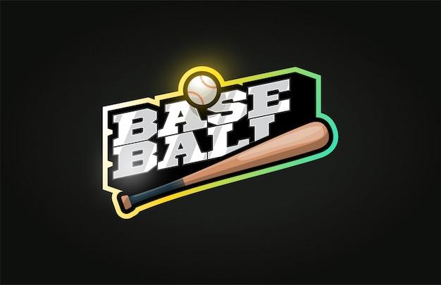 Logo de sport professionnel moderne de baseball dans un style rétro Vecteur Premium