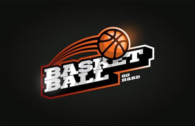 Logo de sport professionnel moderne de basket-ball dans un style rétro Vecteur Premium