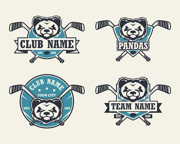 Logo De Sport Tête De Panda. Ensemble De Logos De Hockey. Vecteur Premium
