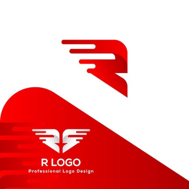Logo Super Rapide Lettre R Vecteur Premium