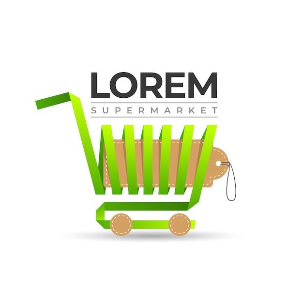 Logo De Supermarché Panier D'achat Vecteur Premium