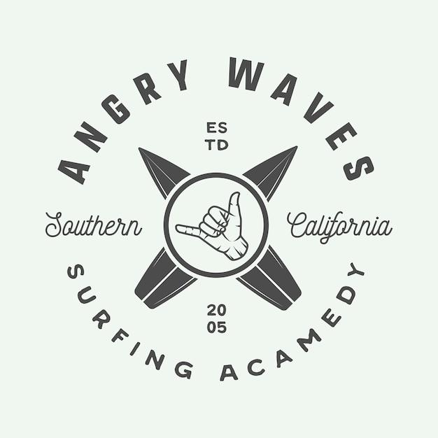 Logo de surf, emblème Vecteur Premium