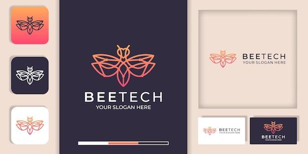 Logo De Technologie D'abeille Avec Conception De Ligne Et Modèle De Carte De Visite Vecteur Premium