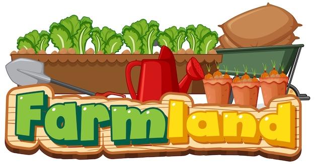 Logo De Terres Agricoles Ou Une Bannière Avec Des Outils De Jardinage Isolé Sur Fond Blanc Vecteur gratuit