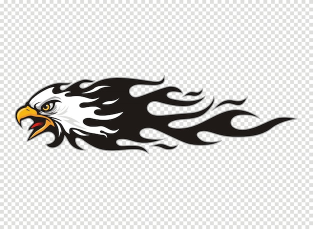 Logo tête d'aigle avec flamme Vecteur Premium