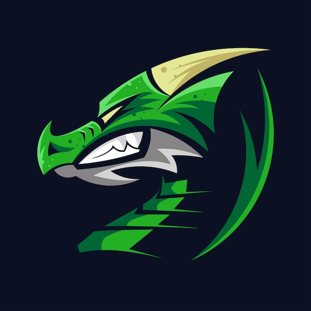 Logo tête de dragon vert symbole tête de dragons Vecteur Premium