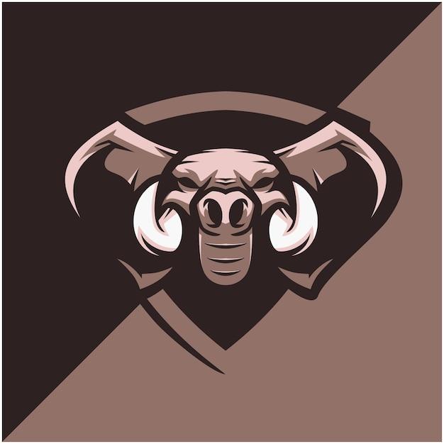 Logo Tête D'éléphant Pour équipe Sportive Ou Esport. Vecteur Premium