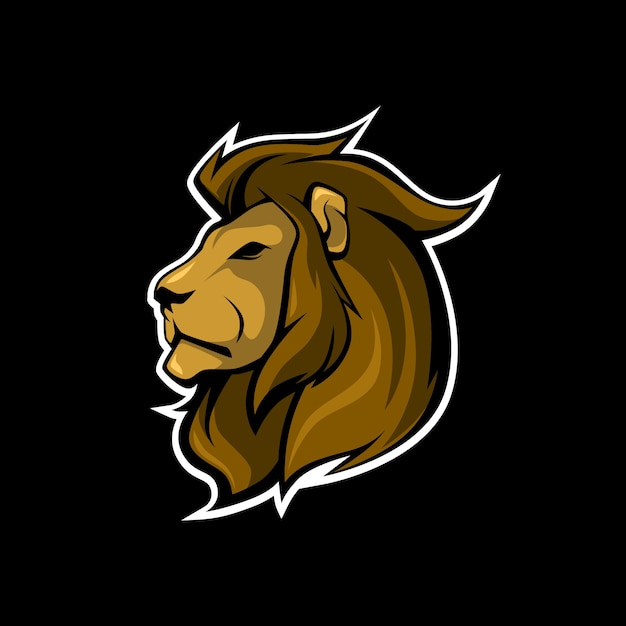 Logo tête de lion Vecteur Premium