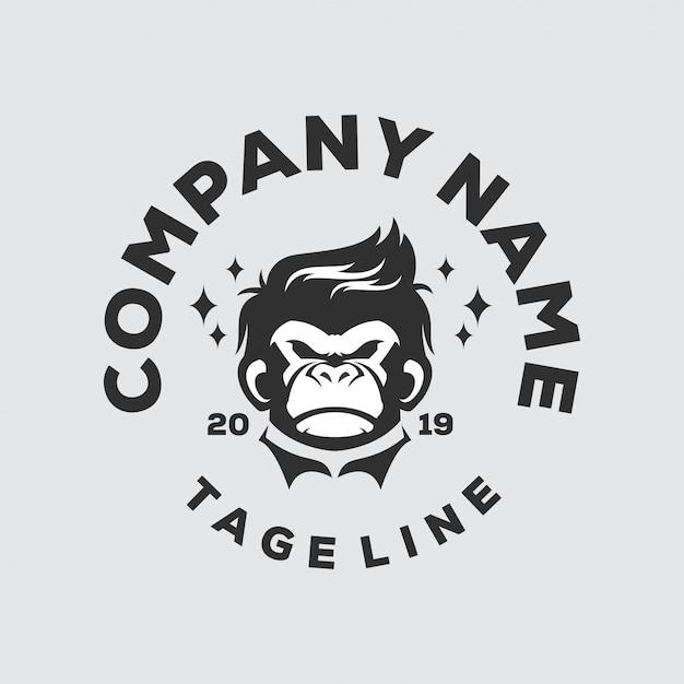Logo tête de singe Vecteur Premium