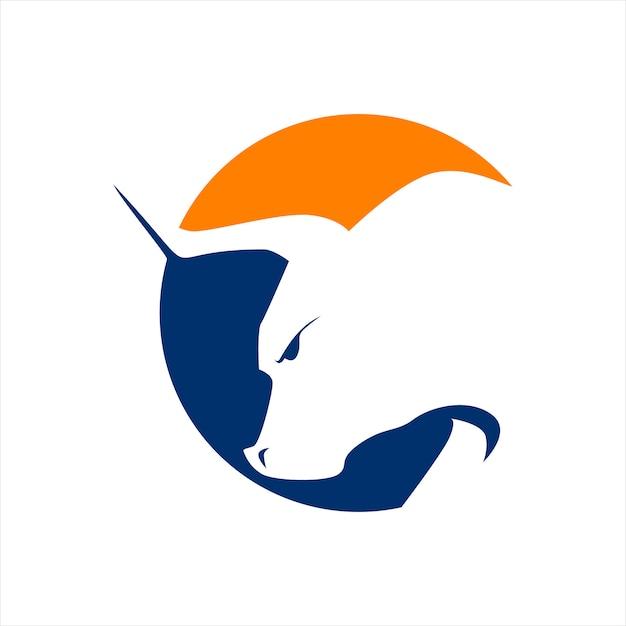 Logo tête de taureaux Vecteur Premium