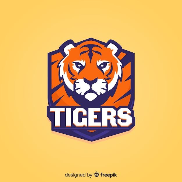 Logo de tigre de sport plat Vecteur gratuit