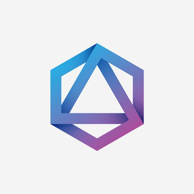 Logo Triangle Hexagonal Vecteur Premium
