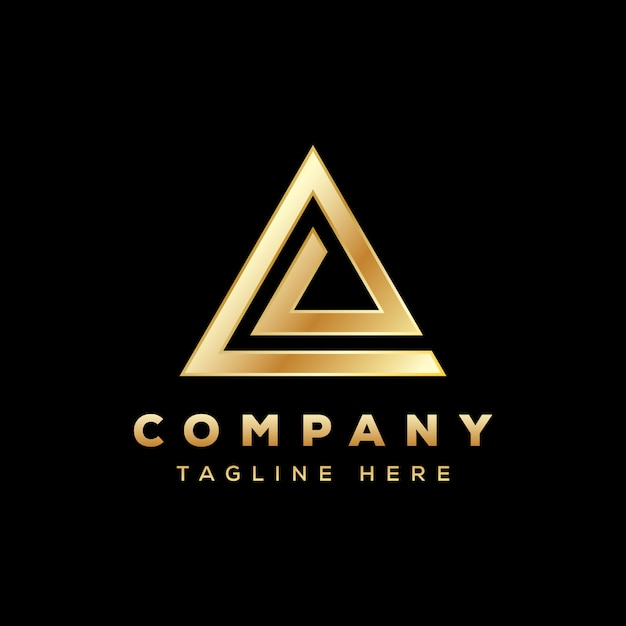 Logo Triangle De Luxe, Logo Triangle Lettre E, Logo Delta Or Vecteur Premium