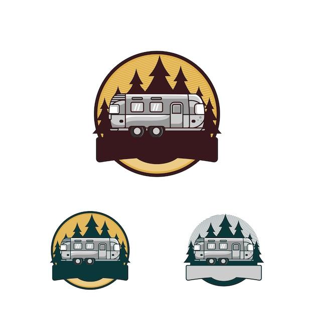 Logo de vacances en camping Vecteur Premium