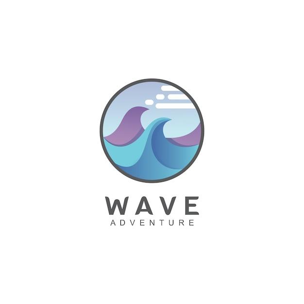 Logo De Vagues En Forme De Cercle Vecteur Premium