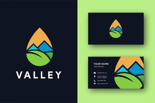 Logo De Vallée Minimaliste Abstrait Et Carte De Visite Vecteur Premium