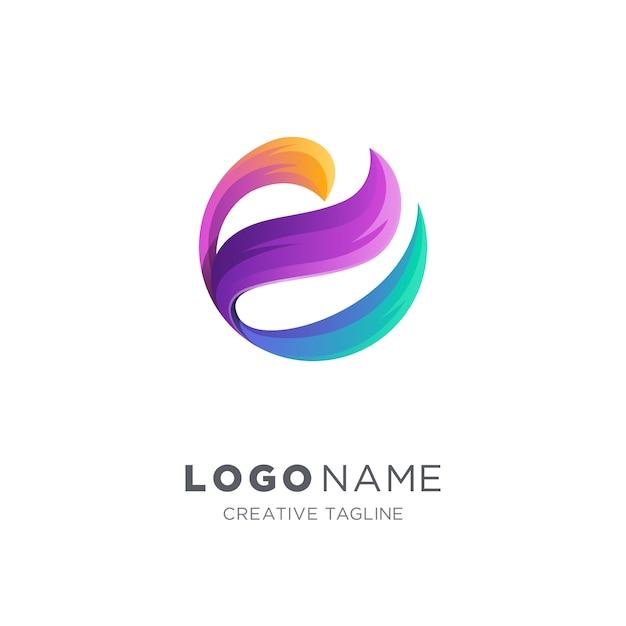 Logo vectoriel abstrait lettre e Vecteur Premium