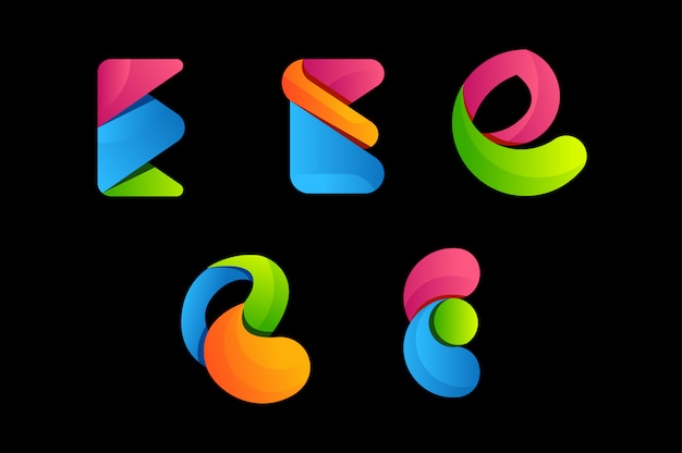 Logo vectoriel coloré lettre e Vecteur Premium