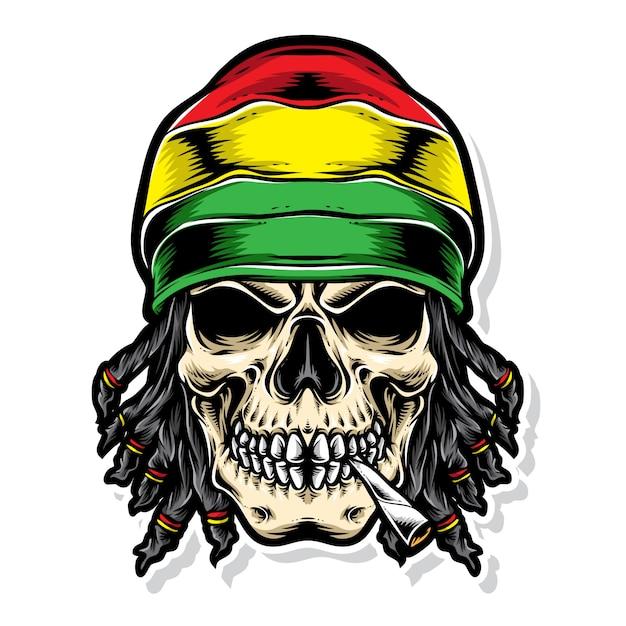 Logo vectoriel de crâne rasta Vecteur Premium
