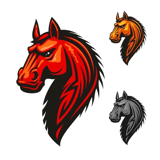Logo Vectoriel Tête étalon Cheval. Chevaux Isolés Rouges, Jaunes, Gris Avec Crinière. Vecteur Premium