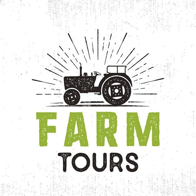 Logo vectoriel de visites de ferme avec tracteur et sunbursts. style rétro. isolé Vecteur Premium
