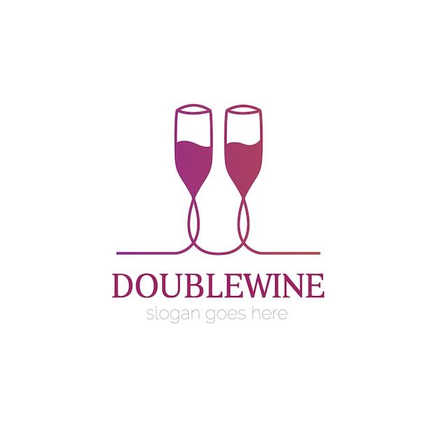 Logo Avec Verre De Vin Design Vecteur gratuit