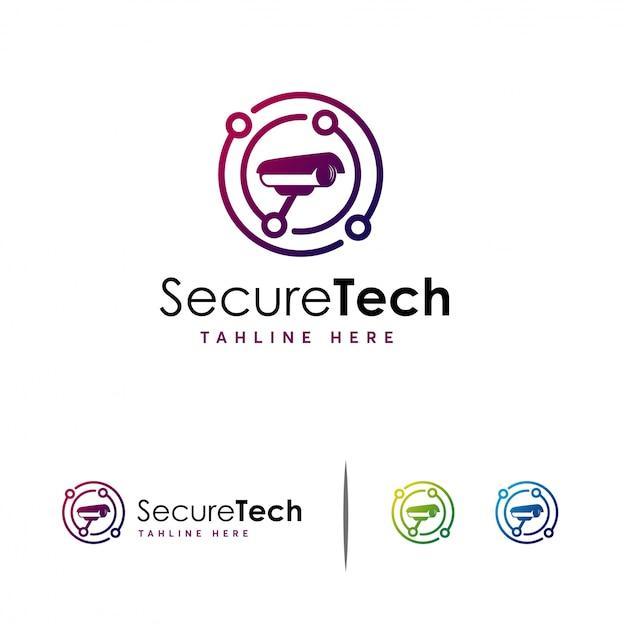 Logo de vidéosurveillance secure tech, logo camera technology Vecteur Premium
