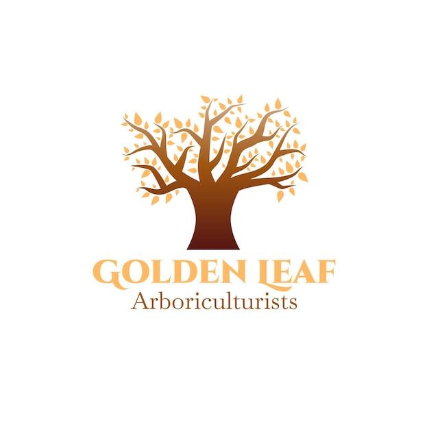 Logo De La Vie De L'arbre Avec Des Feuilles Dorées Vecteur gratuit